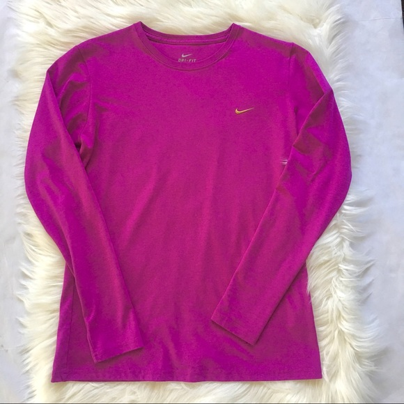 Nike Tops - Nike Dri-Fit Long Sleeve Top Size Large Pink